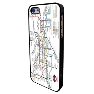 Black Frame London Underground Tube Map Design- iphone 5c Case/Back cover Metal and Hard Plastic case