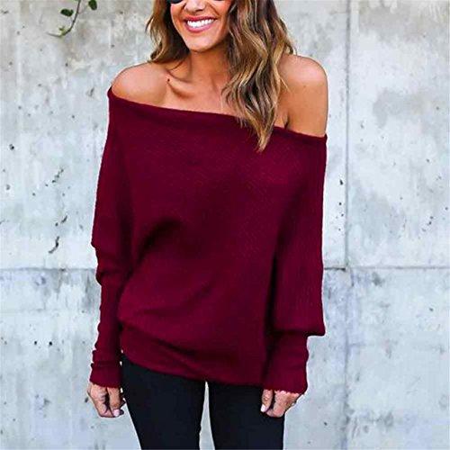 LHWY Damen Fledermaus Ärmel T-Shirt Bluse lässig locker Baumwolle trägerlosen Tops