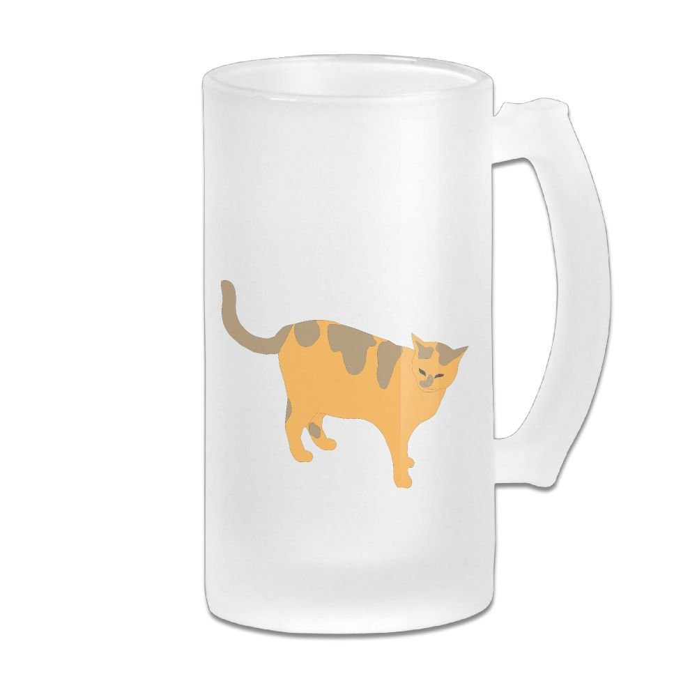 WSXEDC Walking Cat Beer Glass Mug Personalized Mug Thick Glass Mug Great For Pub Bars Restaurants 16 Ounce
