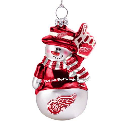 Detroit Red Wings Glitter - NHL Detroit Red Wings Glitter Snowman Ornament