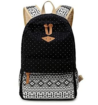 Amazon.com: Hitop Geometry Dot Casual Canvas Backpack Bag, Fashion ...