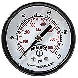 """Winters PEM Series Steel Dual Scale Economy Pressure Gauge, 0-100 psi/kpa, 2"""" Dial Display, +/-3-2-3% Accuracy, 1/4"""" NPT Center Back Mount"""