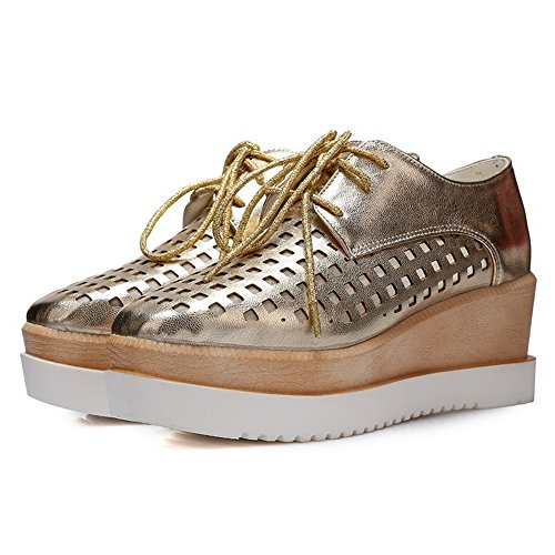 Women's Closed shoes and Material Soft with Solid Wedge Gold toe Platform Pumps WeiPoot pxqada