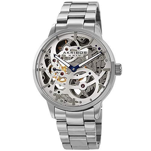 Akribos XXIV Skeleton Men's Watch - Stainless Steel Mesh Bracelet - Automatic Mechanical Wristwatch See Through Dial - AK1078 (Silver)