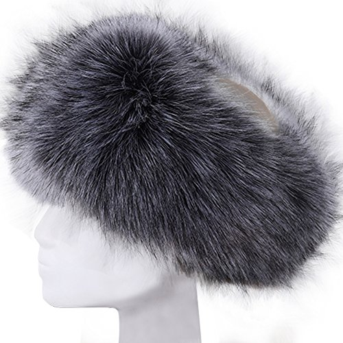 44f36a77d3e Vandot Faux Fur Headband Women Ladies Girls Winter Warm Luxury Ski Head Ear  Warmer Earmuff Ski Hat Pompom Hair Band Scarf Neck Warmer Neckerchief -  Gray ...