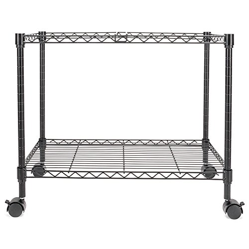 GHP 23.6''x12.6''x18'' 1-Tier Black Powder Coated Carbon Steel Rolling Mobile File Cart by Globe House Products