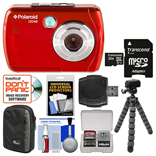 Polaroid iS048 Waterproof Digital Camera (Red) with 32GB Card + Case + Tripod + Cleaning Kit