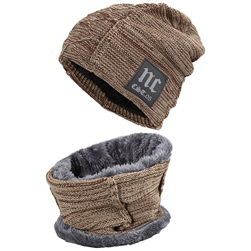 Styles Cold Weather Hats - Fantastic Zone 2-Pieces Winter Beanie Hat Scarf Set Warm Knit Hat Thick Fleece Lined Winter Hat & Scarf For Men Women,Khaki,One Size
