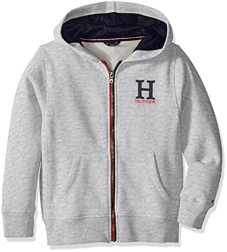 Tommy Hilfiger Big Boys' Long Sleeve Matt Logo Hoody, Grey
