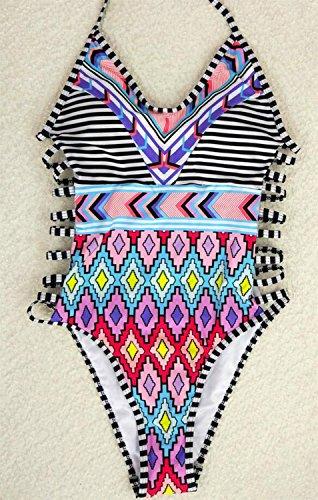 Moda costura rayas siameses bikini traje de baño Multi - color