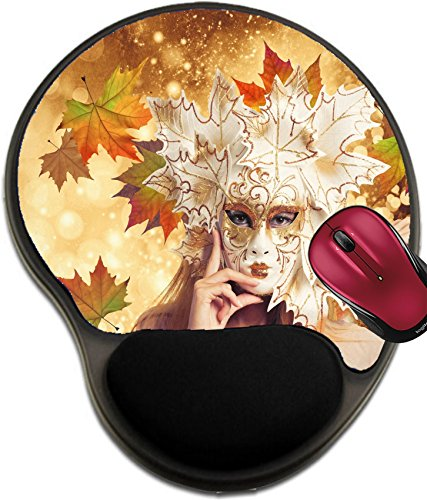 Liili Mousepad wrist protected Mouse Pads/Mat with wrist support design IMAGE ID: 20498297 Fashion woman with autumnal carnival mask