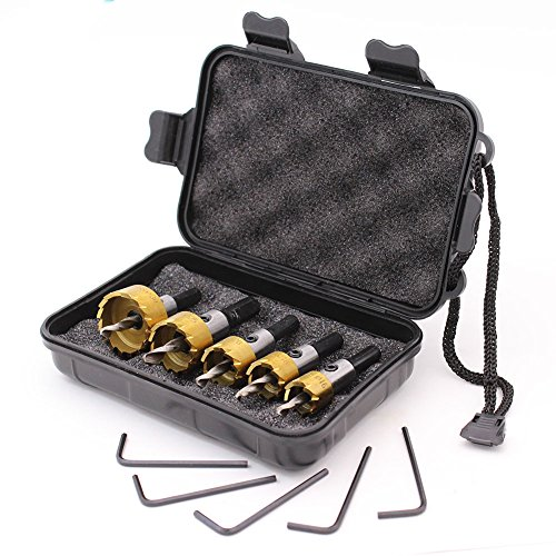 GORCHEN Titanium Hole Saw Cutter Tool Kit Set for Wood Plastic Soft Metal Steel 5 Pcs Carbide HSS