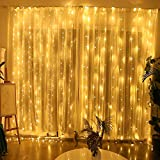 Yinuo Candle Window Curtain String Light Christmas Fairy 300 LED Wedding Party Home Garden Bedroom Outdoor Indoor Festival Wall Decorations Warm White