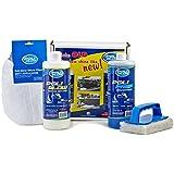 Poli Glow kit boat RV fiberglass/gel coat restoration with UV inhibitors, water-based polymers, 32 ounce Poli Glow, 32 ounce Poli Prep, micro fiber mitt applicator scrub pad w/ handle