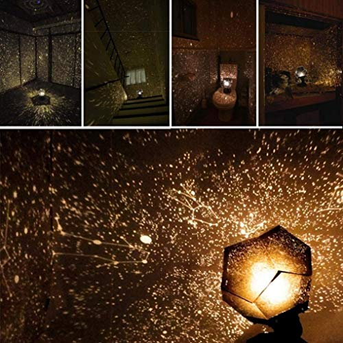 (Lisnec DIY Science Sky Projection Night Light Projector Lamp, Phantom Star Projector Night Lamp with 12 Romantic Constellation for Children Adults Bedroom)