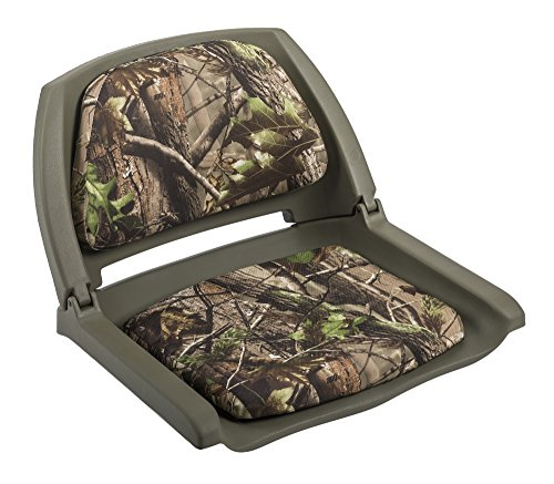 Wise Folding Boat Seat with Plastic Frame and Cushion Pads (Green, Advantage All Purpose Green Camo)