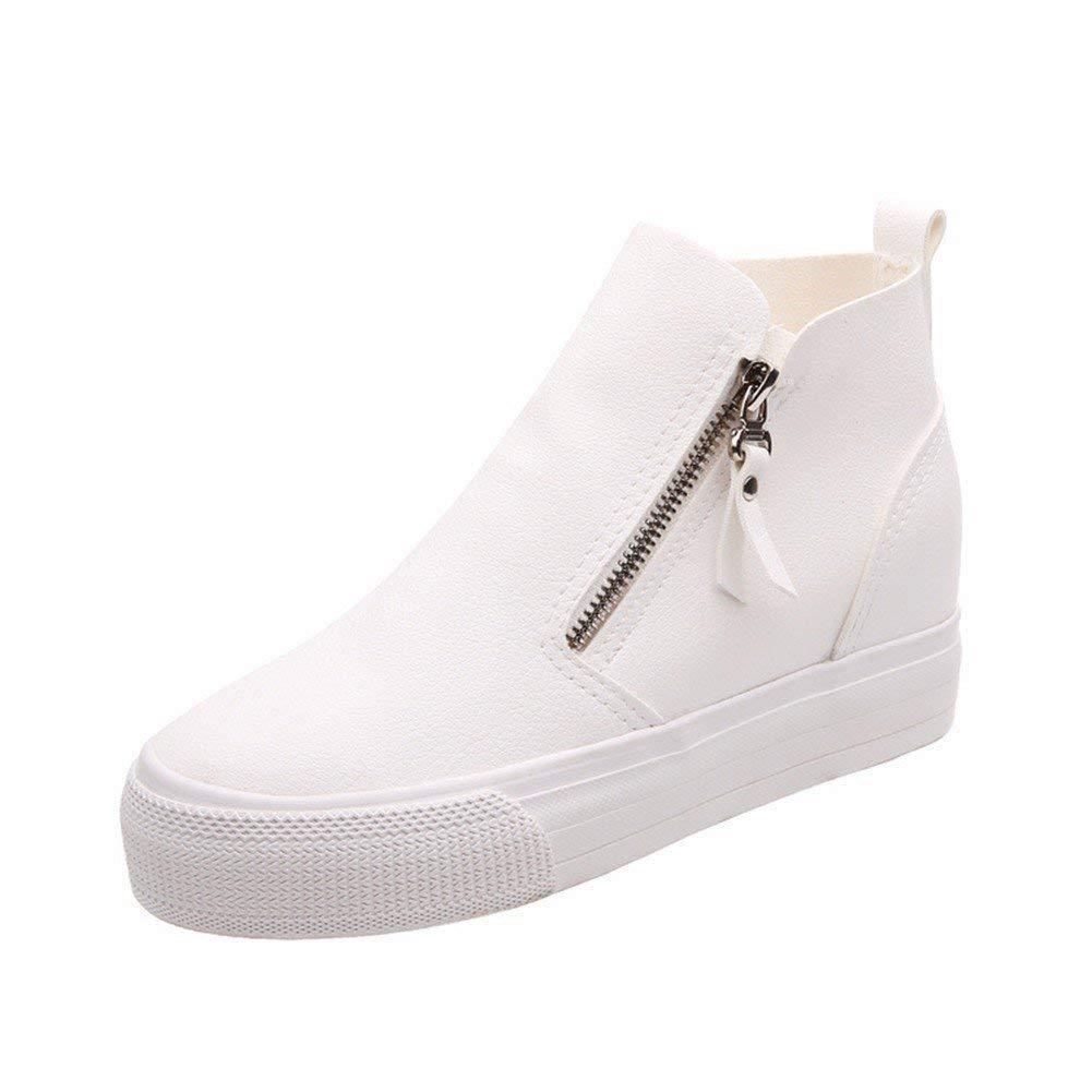 SED Ladies Casual Boots Pu Double Zipper Fondo spesso stivali Stivali scarpe,38 Eu,bianca 38 Eu