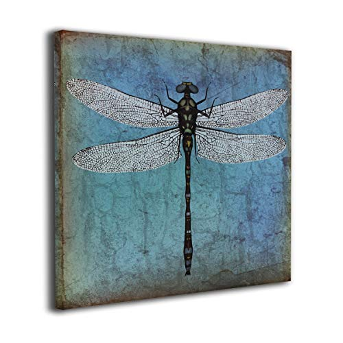 Ale-art Canvas Prints Grunge Vintage Old Backdrop and Dragonfly Bug Wall Prints for Bathroom Living Room Bedroom Home Decor Prints Art 12