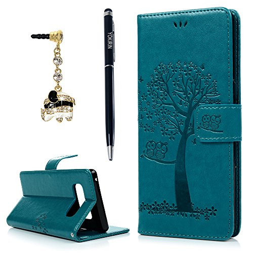 YOKIRIN Galaxy Note 8 Case, Premium PU Leather Emboss Cute Owl Tree Magnetic Folio Flip Stand Wallet Case TPU Inner Wrist Strap ID Credit Card Pockets Skin Cover with Dust Plug & Stylus Pen, - Unit 8 Case