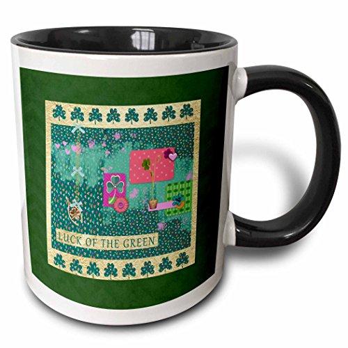(3dRose Beverly Turner St Patrick Day Design - Luck of the Green, Gold Wishbone, Shamrock, Flower, Pot, Heart Collage - 11oz Two-Tone Black Mug (mug_282069_4))