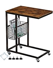 Rolanstar C Shaped Mobile Sofa Table, End Table with a Side Storage Basket and Wheels, Industrial Side Table for Living Room, Bedroom, Couch, Sofa, Bed and Small Space, Rustic Brown