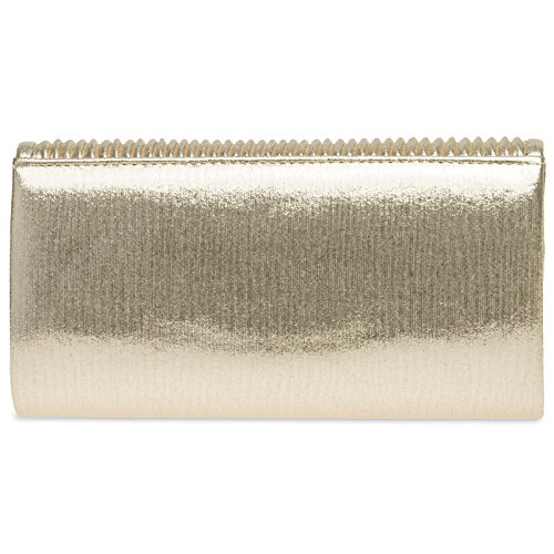 the Ladies Evening Elegant Flap Gathers Clutch Bag Glitter Champagne CASPAR on with Small TA399 EqRYPY
