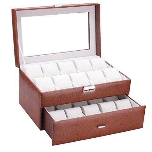 ROWLING Uhrenbox für 20 Uhren Uhrenkoffer Uhrentruhe Uhrenkasten Uhrenschatulle BG033