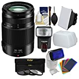 Panasonic Lumix G X Vario 35-100mm f/2.8 II ASPH Power OIS Zoom Lens with Flash + Soft Box + Diffusers + 3 Filters + Kit