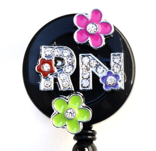 3D Colorful flower RN logo Nurse Rhinestone Retractable Badg