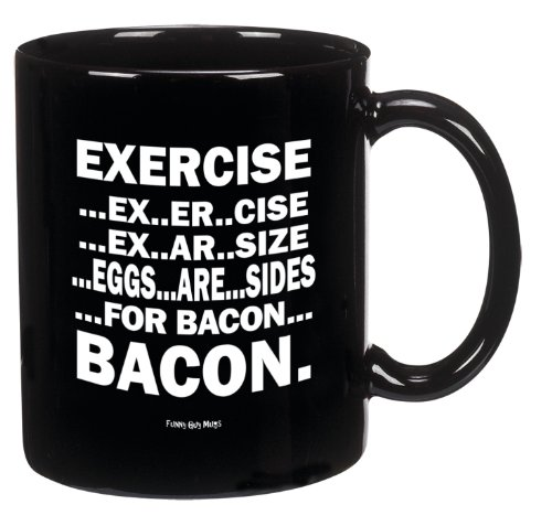 Funny Guy Mugs Eggs Are Sides For Bacon Ceramic Coffee Mug, Black, 11-Ounce