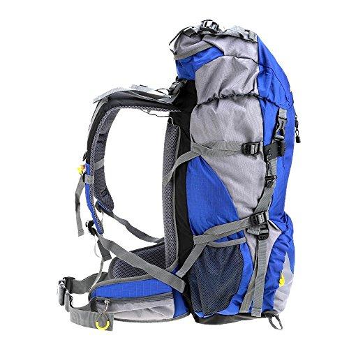 Lixada 50L Rucksack Wasserdicht Sport Trekking Wandern Camping Reisen Klettern Rucksack mit Abdeckung der Regen, blau