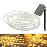 100Leds Copper Strip Light,WONFAST Waterproof 16.4ft/5M Flexible SMD2835 LED Ribbon Mood Rope Solar String Light for Home Bedroom Theater Accent Decoration Christmas Lighting (Warm White)