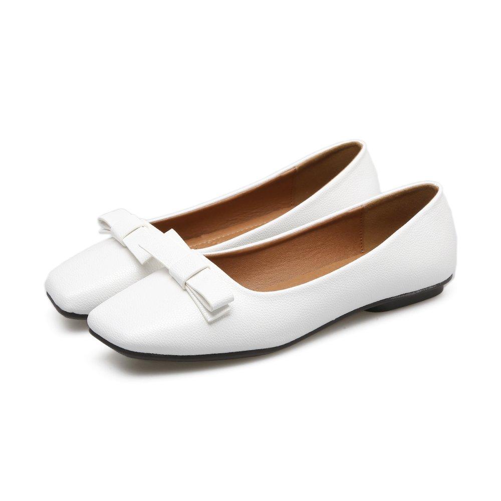 Xue Qiqi Court Schuhe Square Kopf Kopf Kopf Schuhe flach mit flachem Mund Schmetterling flach Schuhe Low-Heeled Vier Schuhe Damenschuhe 37 weiß 7dc8ef