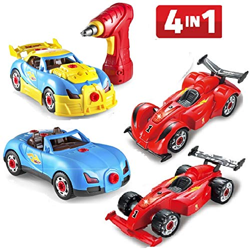 - Prextex 4 in 1 Build Your Own Racer Car Set STEM Toy with Real Working Drill and Screws 53 Piece Take-A-Part Toy for Boys and Girls with Lights and Sounds