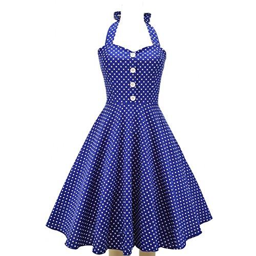 Damen hoher Young Kleid festtagskleider hübsche kleider kleid June's sommerkleider ärmelloses Kleid Qualitaet Retro Blau Polka bequem Dot Faltenkleid Stil charleston 5TwwdqpWf