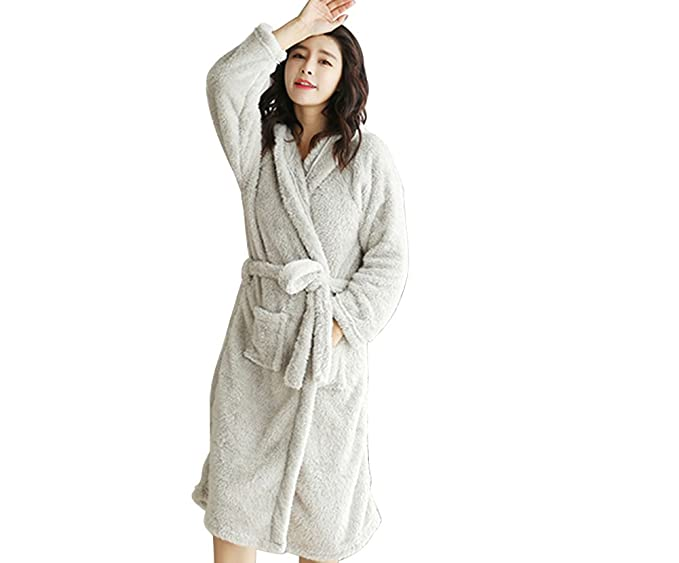 FloYoung Cartoon Rabbit Ear Bathrobe Nightgown Pyjamas Hotel Spa Dress Grey 44237239b