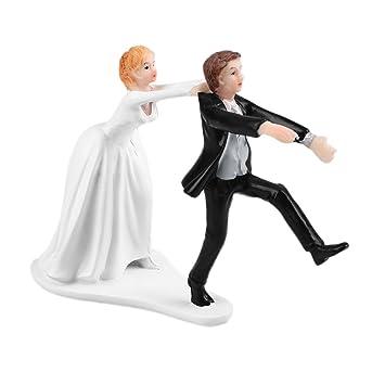 b4808757c4 Wedding Cake Topper Divertido y Romántico Elegante Novia y Novio Toppers  para Pasteles de Boda Decoración Estatuillas Pintadas a Mano y únicas (Estilo  1)  ...