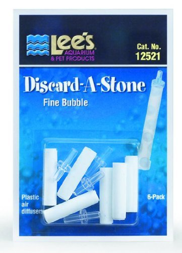 Lee's Pet Products ALE12521 6-Pack Discard a Stone Disposable Air Diffuser for Aquarium Pump, Fine