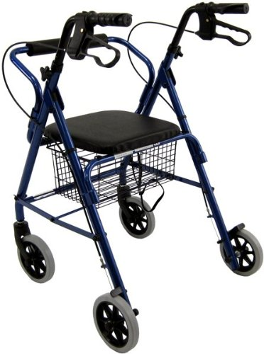 Karman Healthcare R-4100-BL Aluminum Rollator with Low Seat, Blue, 6 Inches