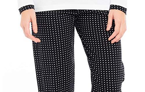 Maglia con Scollo Tondo Bianco Nero KISENE Kiwear Pigiama da Donna in Puro Cotone Bottoncini e Stampa con Cuore Pantalone Nero con Pois Bianchi