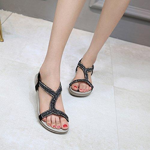 Meeshine Women's Summer Beach Flat Sandals Bohemia Beaded T-Strap Rhinestone Slip on Sandals Shoes(8 B(M) US,Black 01) by Meeshine (Image #2)