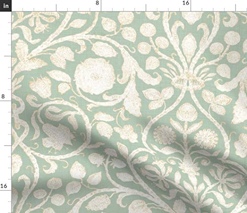 Floral Damask Fabric - Provence In Aloe Modern Home Decor Upholstery French Green Aqua Gray Sparrowsong Print on Fabric by the Yard - Basketweave Cotton Canvas for Upholstery Home Decor Bottomweight (French Provence Fabric)