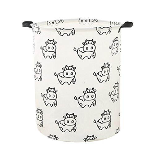 Homyl Kids Toys Storage Basket Bin Cloth Hamper Keep Tidy Clean Home Organization - Cow by Homyl