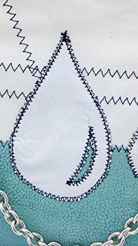 elbaavoile - Cartera de mano de Piel para mujer Varios Colores multicolor acquamarina