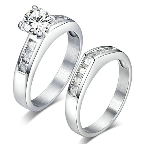 Epinki Stainless Steel Ring, Womens Mens Wedding Bands Silver 2Pcs Cubic Zirconia Inlaid Size 7