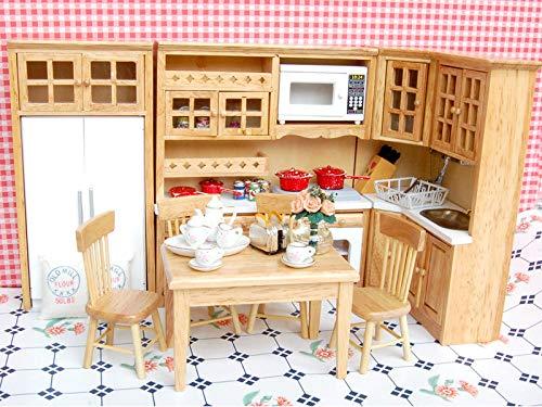 (Mini Wooden Furniture Kit Porcelain Tea Set 1/12 Dolls House Kitchen Rooms)
