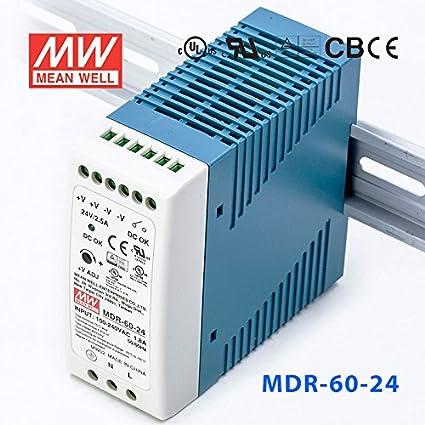 Mean Well MDR-60-12 60 Watt 60W Miniature DIN Rail Power Supply 12V DC 5A