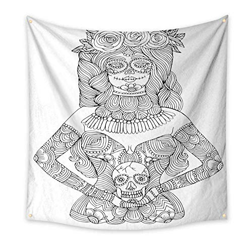 BlountDecor Simple Tapestry Girl with Calavera Makeup Holding Sugar Skull Halloween Coloring Page 55W x 55L Inch