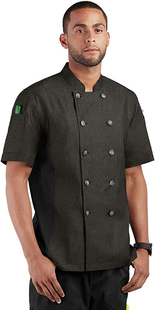 Men's Chambray Chef Coat with Side Mesh Panels (XS-3X, 2 Colors)