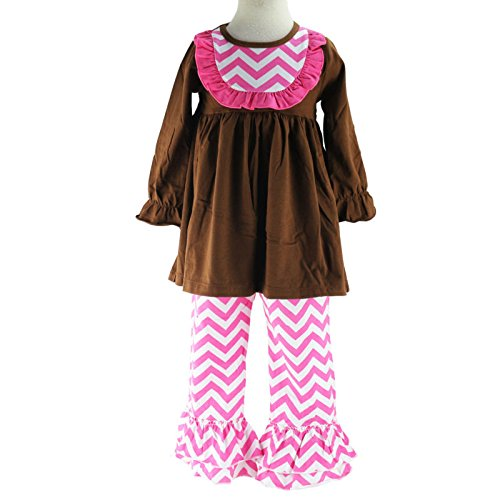 Wennikids Little Girls' Chevron Bib Dress and Ruffle Pants Legging Two-Piece Set XX-Large Brown